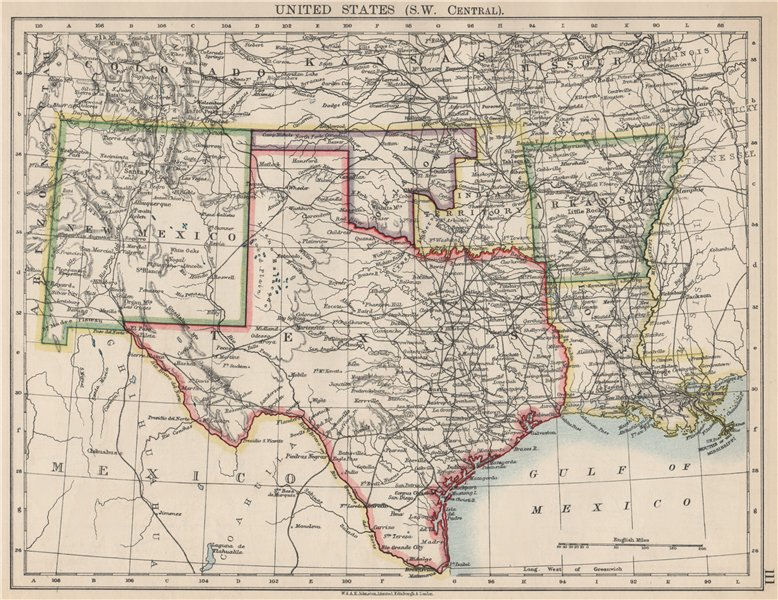 USA SOUTH CENTRAL.Texas.Proposed state of Oklahoma inc Indian Territory 1903 map