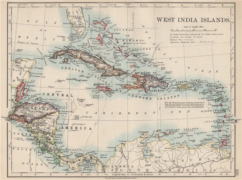 Associate Product WEST INDIA ISLANDS. Caribbean Lucayas Caribbee Cuba. JOHNSTON 1903 old map
