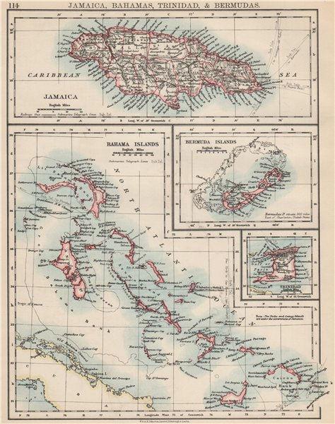 Associate Product CARIBBEAN/ATLANTIC ISLANDS.Jamaica Bermuda Bahamas Trinidad.  JOHNSTON 1903 map