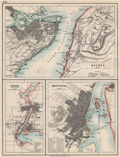 Associate Product CANADIAN CITIES.Quebec Montreal MontréalNiagara Falls plans.  JOHNSTON 1903 map