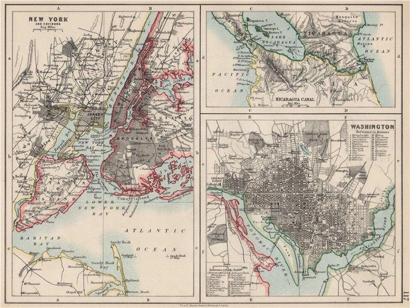 Associate Product US CITIES/NICARAGUA CANAL.New York & Washington plans.  JOHNSTON 1903 old map