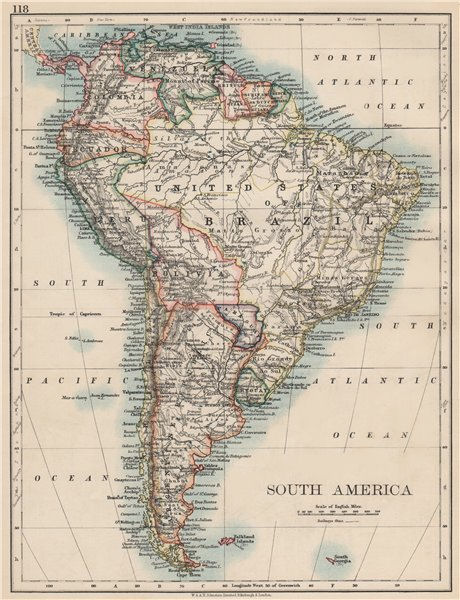 Associate Product SOUTH AMERICA. Bolivia includes Acre, now in Brazil. JOHNSTON 1903 old map