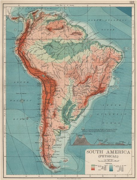 Associate Product SOUTH AMERICA PHYSICAL. Inset West-East cross section. JOHNSTON 1903 old map