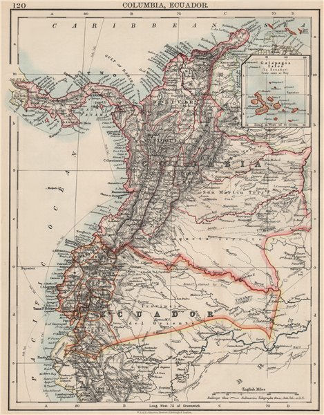 Associate Product ANDEAN STATES. Colombia Ecuador Panama. States. South America. JOHNSTON 1903 map