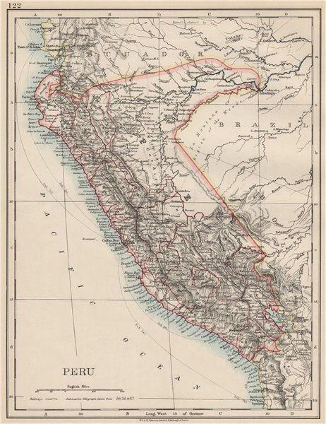 Associate Product PERU. Border as before Peru-Ecuador war (1941). JOHNSTON 1903 old antique map