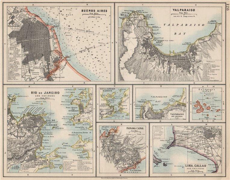 Associate Product S AMERICA CITIES. Buenos Aires Rio de Janeiro Valparaiso Lima. JOHNSTON 1903 map