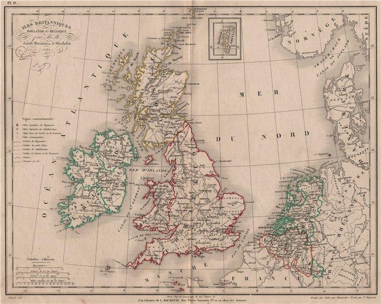 Associate Product 'Iles Britanniques, Hollande et Belgique' by Meissas/Michelot 1861 old map