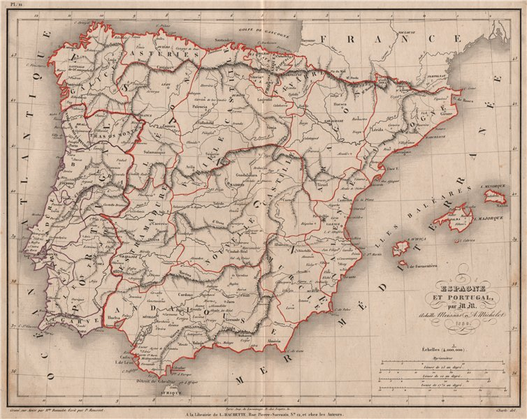 Associate Product 'Espagne et Portugal' by Meissas & Michelot. Spain Portugal Iberia 1861 map