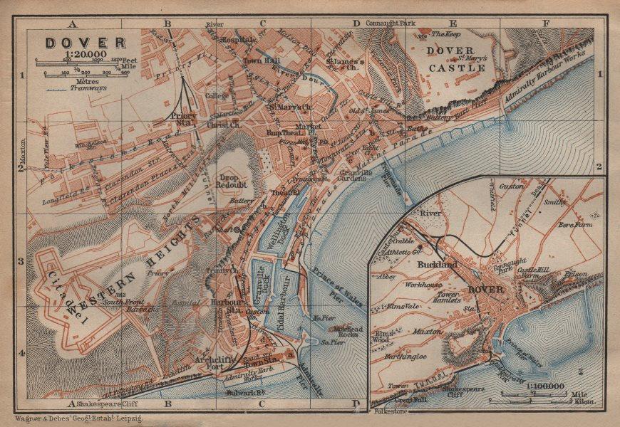 Associate Product DOVER antique town city plan & environs. Kent. BAEDEKER 1906 old map
