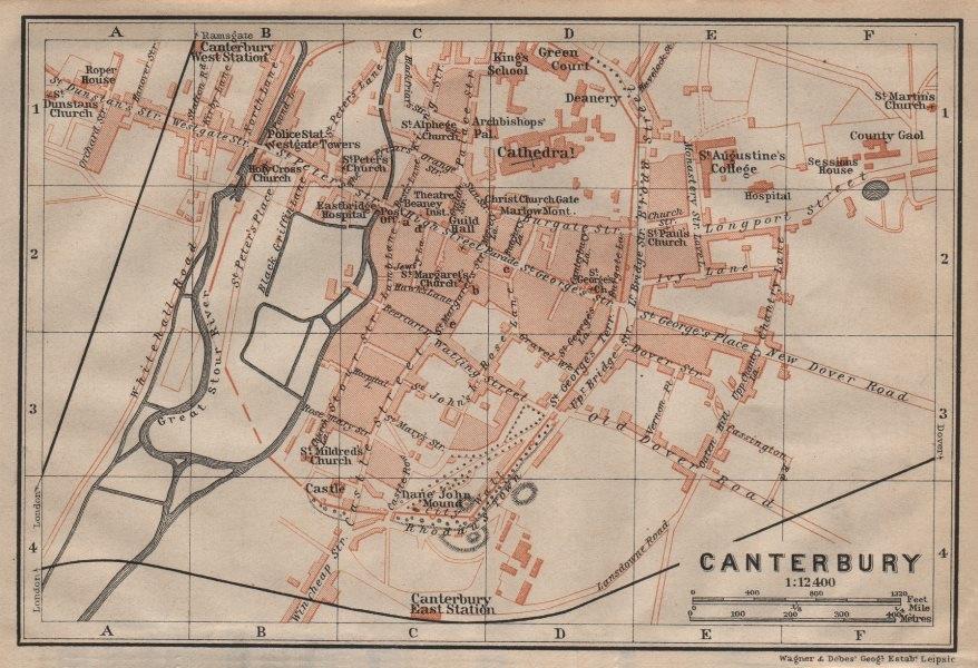 Associate Product CANTERBURY antique town city plan. Kent. BAEDEKER 1906 old map chart