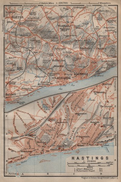 Associate Product HASTINGS town city plan & environs. ST LEONARDS Battle Bexhill. Sussex 1906 map