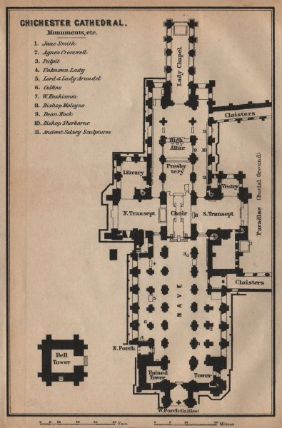 Associate Product CHICHESTER CATHEDRAL floor plan. Sussex. BAEDEKER 1906 old antique map chart