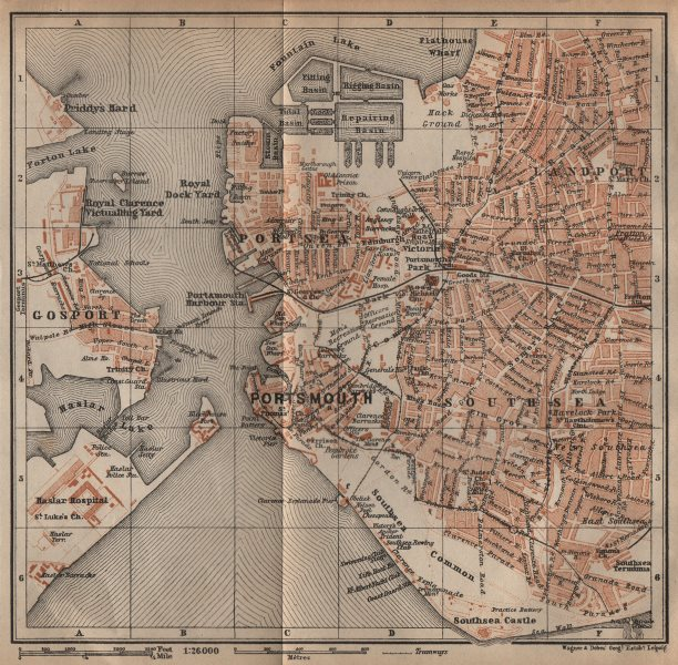 Associate Product PORTSMOUTH town city plan. Landport Southsea Gosport Portsea Hampshire 1906 map