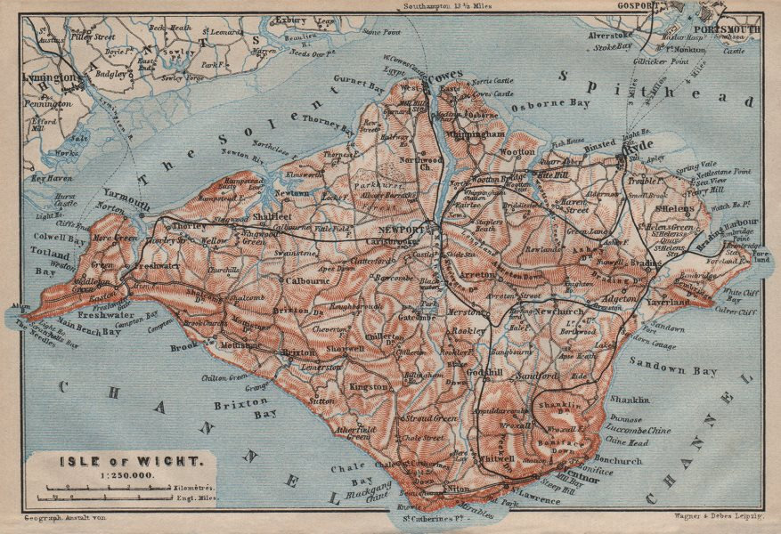 Associate Product ISLE OF WIGHT showing railway network. BAEDEKER 1906 old antique map chart