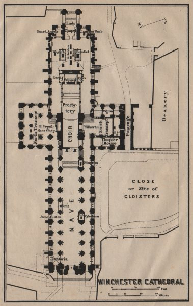 Associate Product WINCHESTER CATHEDRAL floor plan. Hampshire. BAEDEKER 1906 old antique map