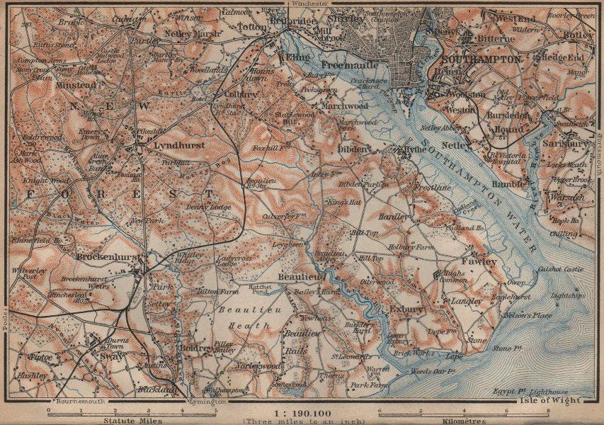 Associate Product NEW FOREST & SOUTHAMPTON WATER. Lyndhurst Beaulieu Hythe Brockenhurst 1906 map
