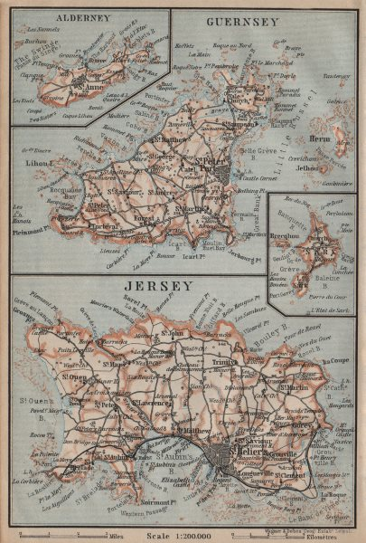Associate Product THE CHANNEL ISLANDS. Guernsey Jersey Alderney Sark. BAEDEKER 1906 old map