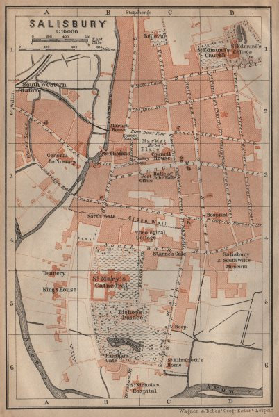 Associate Product SALISBURY town city plan. St Mary's Cathedral. St Edmunds. Wiltshire 1906 map