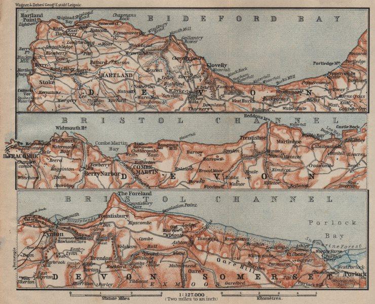 Associate Product DEVON/EXMOOR NORTH COAST. Hartland Clovelly Ilfracombe Lynton Porlock 1906 map