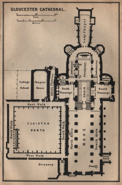 Associate Product GLOUCESTER CATHEDRAL floor plan. Gloucestershire. BAEDEKER 1906 old map