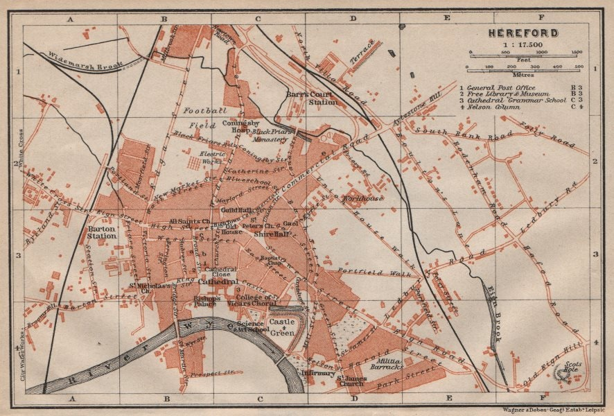 Associate Product HEREFORD antique town city plan. Broomy Hill. Herefordshire. BAEDEKER 1906 map