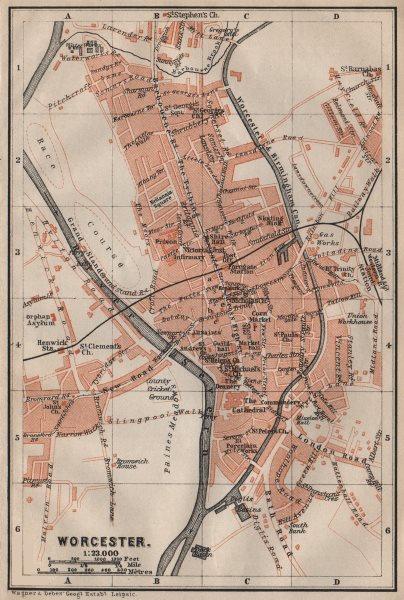 Associate Product WORCESTER antique town city plan. St John's. Worcestershire. BAEDEKER 1906 map