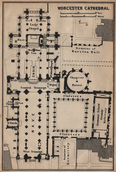 Associate Product WORCESTER CATHEDRAL floor plan. Worcestershire. BAEDEKER 1906 old antique map