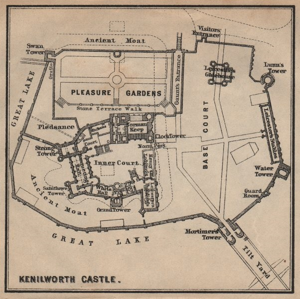 Associate Product KENILWORTH CASTLE ground plan. Warwickshire. BAEDEKER. SMALL 1906 old map