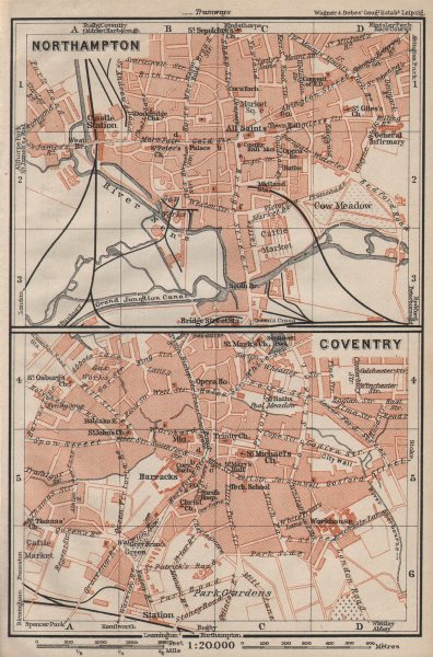Associate Product NORTHAMPTON & COVENTRY town city plans. Pre World War 2. Midlands 1906 old map