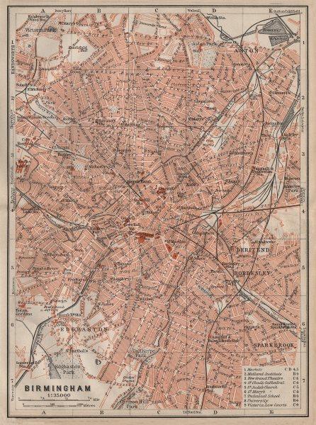 Associate Product BIRMINGHAM town city plan. Edgbaston Aston Deritend Bordesley Saltley 1906 map