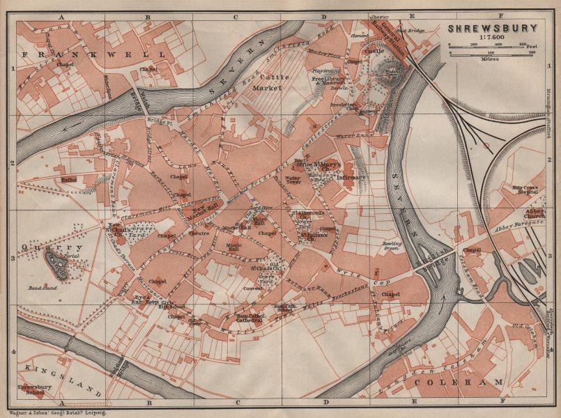 Associate Product SHREWSBURY town city plan. Frankwell Coleham Kingsland. Shropshire 1906 map