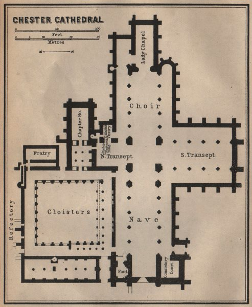 Associate Product CHESTER CATHEDRAL floor plan. Cheshire. BAEDEKER 1906 old antique map chart