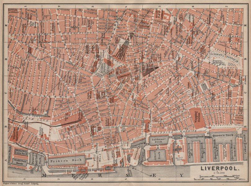 Associate Product LIVERPOOL CITY CENTRE antique town plan. BAEDEKER 1906 old map chart