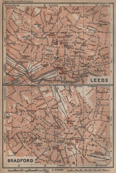Associate Product LEEDS & BRADFORD antique town city centre plans. Yorkshire. BAEDEKER 1906 map