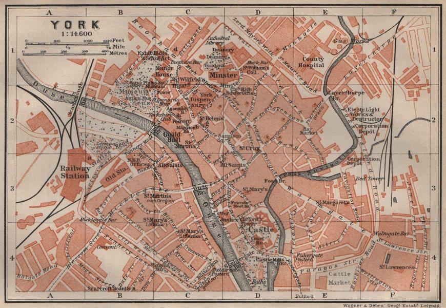 Associate Product YORK antique town city centre plan. Yorkshire. BAEDEKER 1906 old map