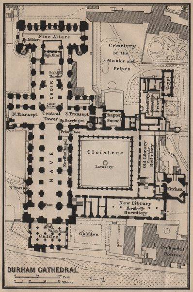 Associate Product DURHAM CATHEDRAL floor plan. Durham. BAEDEKER 1906 old antique map chart