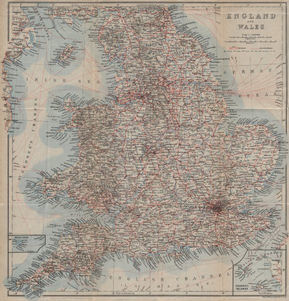 Associate Product ENGLAND & WALES Railways & Steamboat steamship routes. Great Britain 1927 map