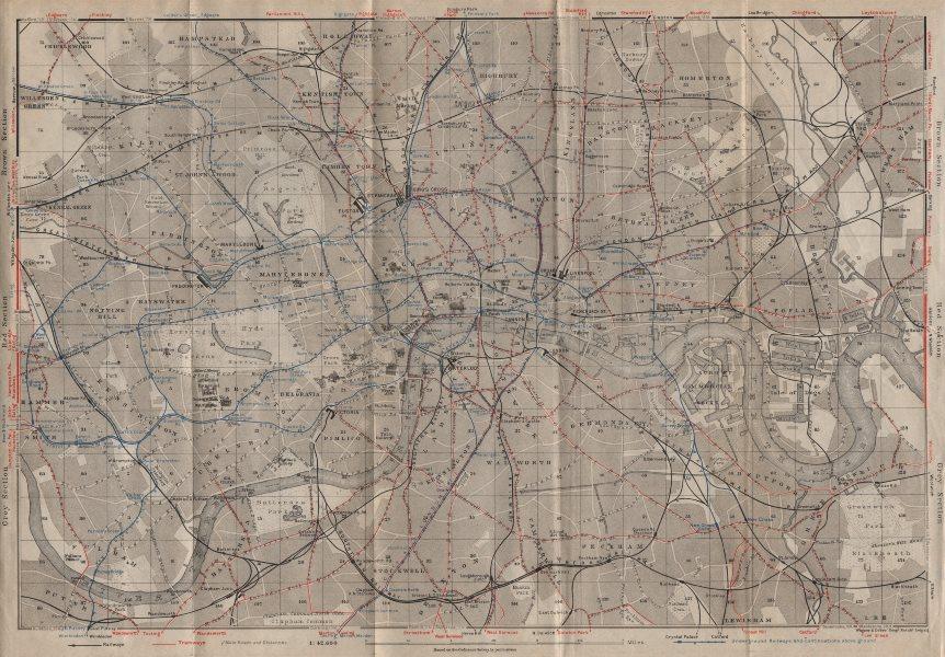 Associate Product CENTRAL LONDON TRANSPORT. Railways & underground tube lines. BAEDEKER 1927 map