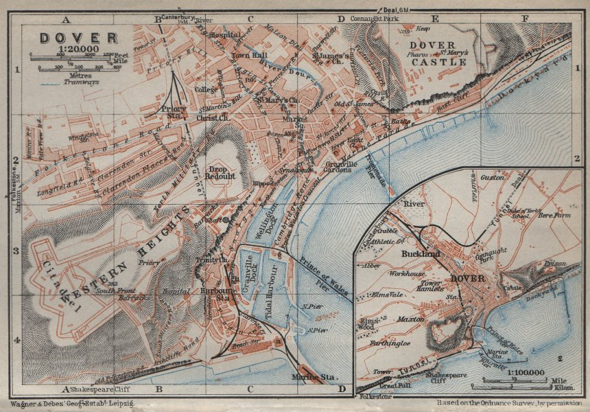 Associate Product DOVER antique town city plan & environs. Kent. BAEDEKER 1927 old map