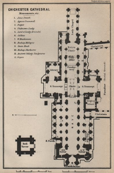 Associate Product CHICHESTER CATHEDRAL floor plan. Sussex. BAEDEKER 1927 old vintage map chart