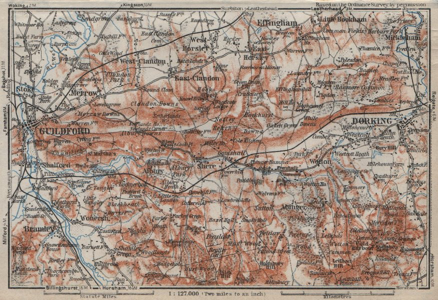 Associate Product DORKING & GUILDFORD environs. North Downs. Surrey. BAEDEKER 1927 old map