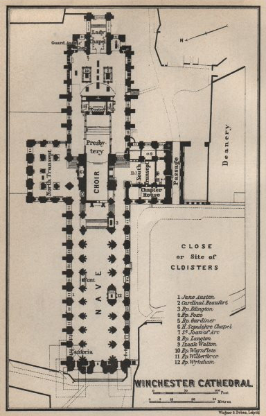 Associate Product WINCHESTER CATHEDRAL floor plan. Hampshire. BAEDEKER 1927 old vintage map