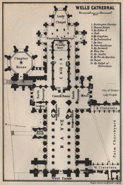 Associate Product WELLS CATHEDRAL floor plan. Somerset. BAEDEKER 1927 old vintage map chart