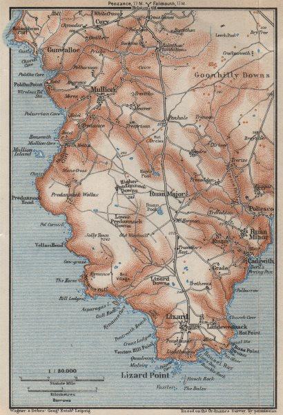 Associate Product THE LIZARD PENINSULA. Mullion Ruan Goonhilly Downs topo-map. Cornwall 1927