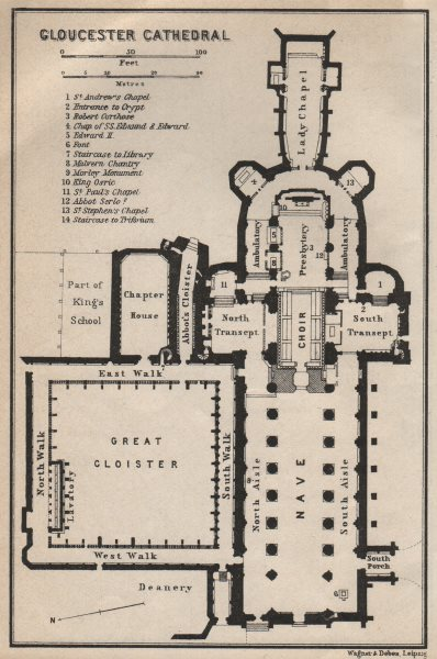 Associate Product GLOUCESTER CATHEDRAL floor plan. Gloucestershire. BAEDEKER 1927 old map