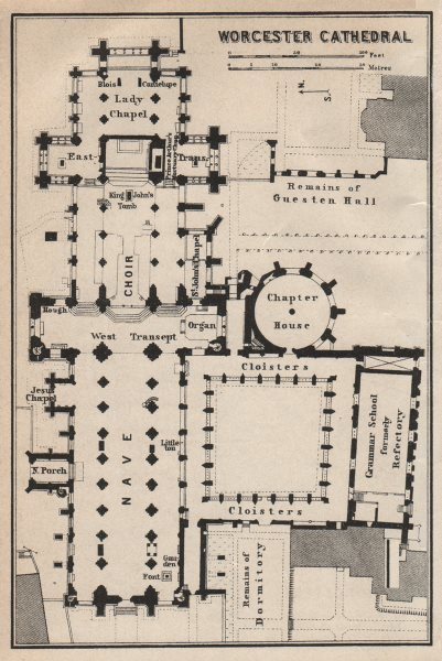 Associate Product WORCESTER CATHEDRAL floor plan. Worcestershire. BAEDEKER 1927 old vintage map