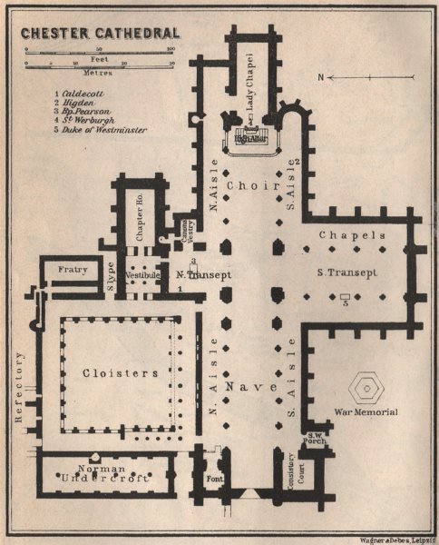 Associate Product CHESTER CATHEDRAL floor plan. Cheshire. BAEDEKER 1927 old vintage map chart