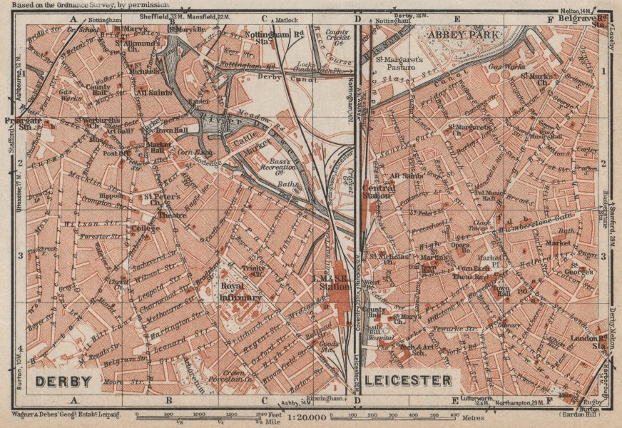 Associate Product DERBY & LEICESTER antique town city plans. Midlands. BAEDEKER 1927 old map