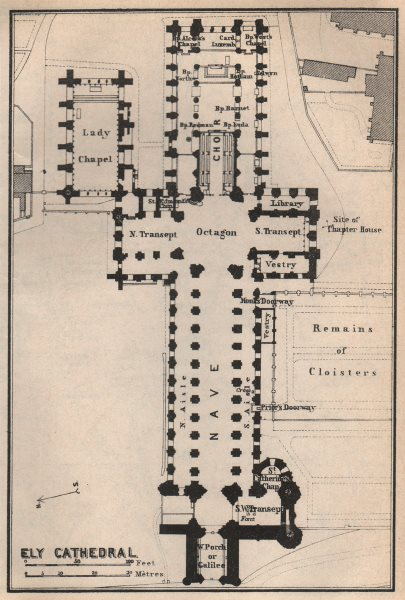 Associate Product ELY CATHEDRAL floor plan. Cambridgeshire. BAEDEKER 1927 old vintage map chart