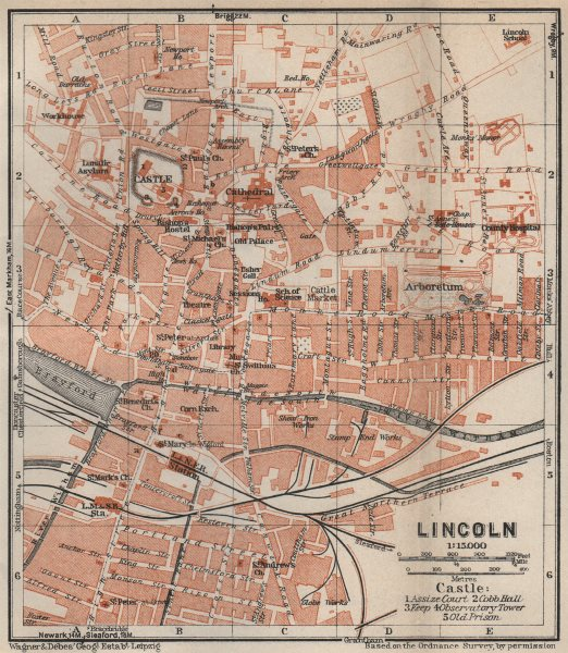 Associate Product LINCOLN antique town city plan. Lincolnshire. BAEDEKER 1927 old map